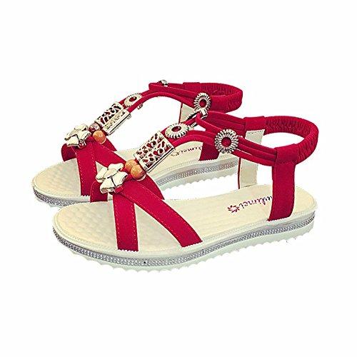 XIAOGEGE terraza plana y elegante de metal flores sandalias mujer zapatos, zapatillas de playa casual El rojo