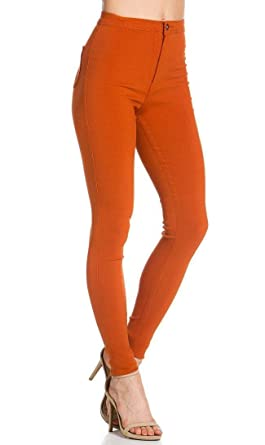 15e8eda310c86 Super High Waisted Stretchy Skinny Jeans in Rust (S-XL) at Amazon ...