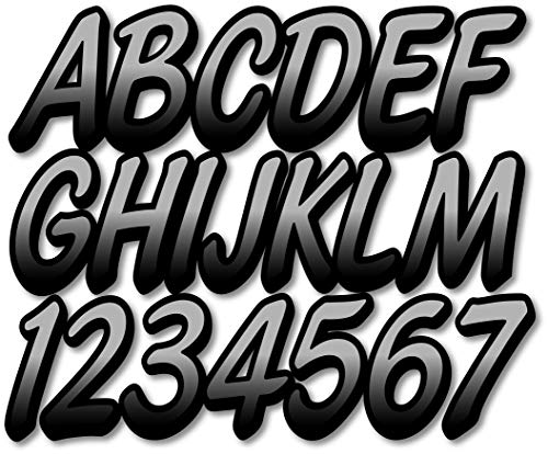 "Stiffie Whipline Silver/Black 3"" Alpha-Numeric Registration Identification Numbers Stickers Decals for Boats & Personal Watercraft"