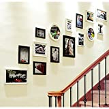 15 frame composite solid wood photo wall European style entrance picture frame wall creative staircase wall frame frame wall combination ( Color : Black and White )