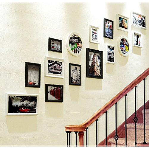 15 frame composite solid wood photo wall European style entrance picture frame wall creative staircase wall frame frame wall combination ( Color : Black and White ) by Photo Frame Set