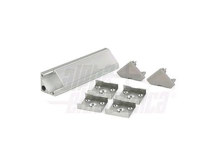 Profilo angolare in alluminio mt pr per strisce led mm