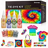 Tie Dye Kits, Emooqi 18 Colours Permanent All-in-1 Tie Dye Set with 36 Bag Pigments, Rubber Bands, Gloves, Apron and Table Covers for Craft Arts Fabric Textile Party DIY Handmade Project (Color: Orange ,Light Yellow ,Black, Red,Dark Blue,Rose Red,Goldenrod,Yellow , Pink, Lake Blue,Green,Purple)