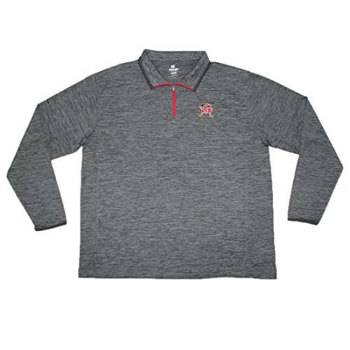 1/4 Zip Thermal Hooded Pullover - BIG & TALL Maryland Terrapins NCAA Mens Athletic 1/4 Zip Thermal Sweatshirt XXL Grey