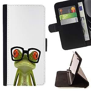 Momo Phone Case / Flip Funda de Cuero Case Cover - Nerd Glasses rana triste Verde Blanco - Sony Xperia Z3 Compact