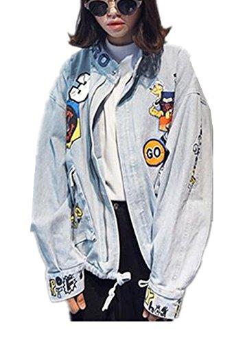 Tengfurich Tengfu Women's Blue Cute Letter Print Bomber Denim Jean Jacket Coat Outwear (US6-8, Blue)