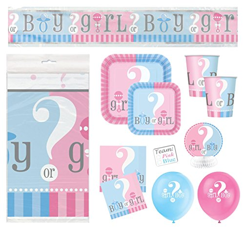 (Gender Reveal Boy or Girl or Baby Shower Party Supplies - Dinner and Cake Size Plates, Cups, Napkins, Tablecloth, Stickers, Balloons, Banner, Table Decorations (Serves)