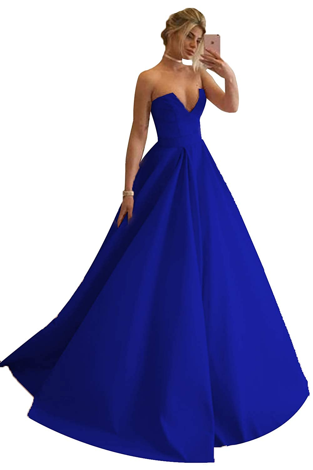 Royal bluee Promworld Women's Strapless Sexy V Neck Prom Dress A Line Evening Gowns Formal Dress Long