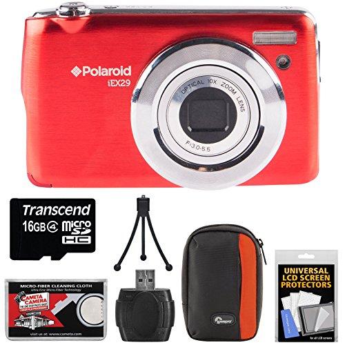 Polaroid iEX29 18MP 10x Digital Camera (Red) with 16GB Card + Case + Accessory Kit