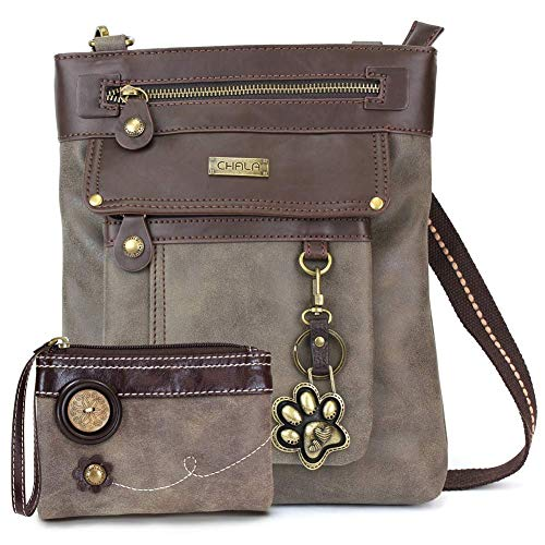 Chala GEMINI Crossbody Faux Leather Gift Messenger Bag with Double Zip Wallet (Paw Print - Stone Grey)