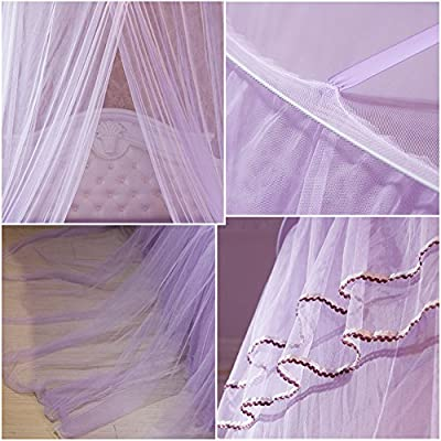 Per Princess Dome Fantasy Netting Curtains with Butterfly Decoration Hanging Round Lace Canopy Play Tent Mosquito Net for Double Bed(Purple): Toys & Games