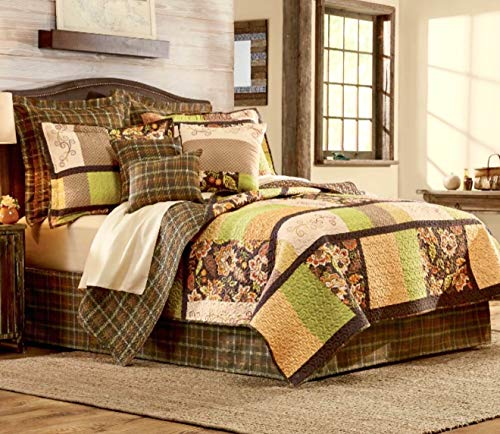 - Forest Lane 9pc's Full Size Reversible Oak Tree Lodge Earthtone Quilt Set Rustic Medley Floral Patchwork and Plaids - (1) -Quilt (2) -Shams (1) Bedskirt (2) -Euro Shams (3) Decorative Toss Pillows!!