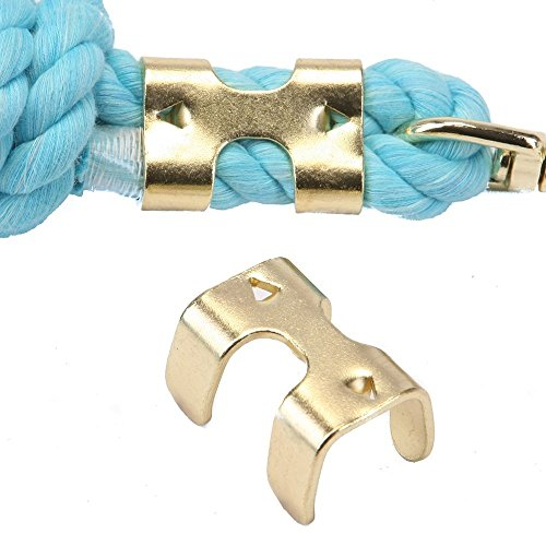 Ravenox Metal Clips For Rope | Heavy Duty Brass Plated and Zinc Plated Double Rope Clamps | (Brass Plated)(20 Pack)