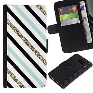 KingStore / Leather Etui en cuir / Samsung Galaxy S6 / Teal blanco negro Líneas diagonales