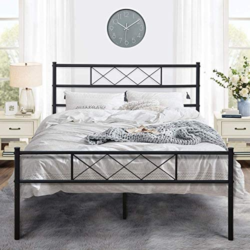 VECELO Metal Platform Bed Frame Mattress Foundation with Headboard & Footboard/Firm Support & Easy Set up Structure, Queen, Black