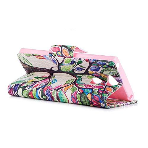 Sony Xperia BONROY en cuir Housse Etui PU XA2 Housse pour tui de peinture Portefeuille Flip pour Cuir Coque Cute de amusante tui Magntique motifs en Coque Arbre XA2 color cuir Sony Cove Protection Xperia Case rqtUtE4WR
