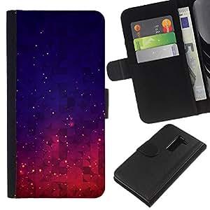 EJOY---La carpeta del tirón la caja de cuero de alta calidad de la PU Caso protector / LG G2 D800 / --Estrellas púrpura Espacio Noche Cielo Azul Vibrante
