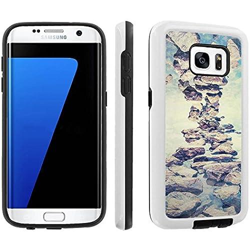 [Galaxy S7] [5.1 Screen] Armor Case [Skinguardz] [White/Black] Shock Absorbent Hybrid - [Rustic Rocks] for Samsung Sales