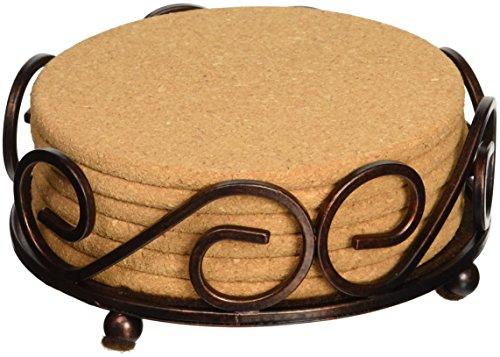 Cork Bottom Coaster (Thirstystone Cork Coasters with Holder, Tan)