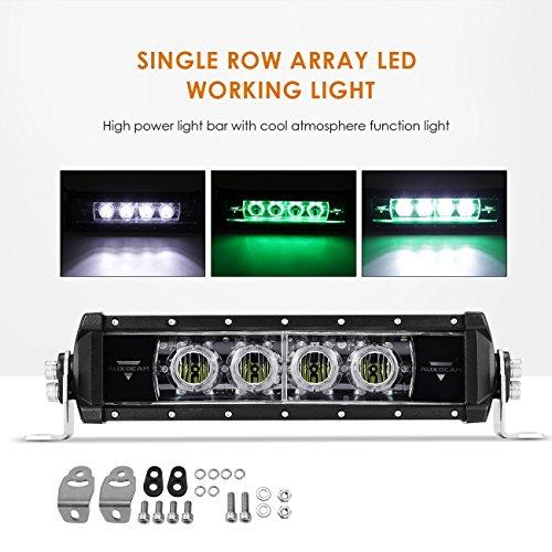 "Auxbeam LED Light Bar 12"" Single Row Light Bar Green Flood B"