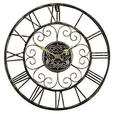ZHUNSHI Romana 18 Pulgadas Forja Pared Reloj Pared Retro Reloj Antiguo Salón Hacer Reloj De Pared Antiguo: Amazon.es: Hogar