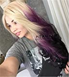 Heahair® Women's Hair Wig New Fashion Ombre Long Wavy Hair Heat Resistant Synthetic Lace Front Wig for Cosplay Party Costume(Blonde Purple Black)