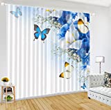 LB Butterfly 3D Window Curtains for Living Room Bedroom,Butterfly on the Blooming White Flowers Teen Kids Room Décor 3D Blackout Curtains Drapes 2 Panels Set,42 x 96 Inches Review