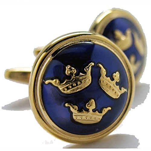 Executive Cufflinks (Mens Executive Cufflinks Royal Blue and Gold Tone Swedish Three Crowns Cuff Links)