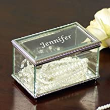 Engraved Beveled Glass Jewelry Box by Cathy's Concepts