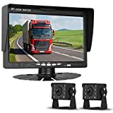 HD 720P Backup Camera and 7' Monitor Kit, 2 Cameras for School Bus/Trailer/RV/Truck/Pick up/Van Rear View Camera Single Power System IP68 Waterproof Night Vision Driving/Reversing Use