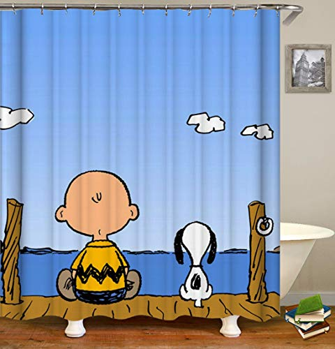 BARTORI Cartoon Decor Shower Curtain Snoopy and Charlie Brown sit on The Wooden Bridge Near The River Waterproof Polyester Fabric Bath Curtain with Hooks and Size 71''X71'' ()