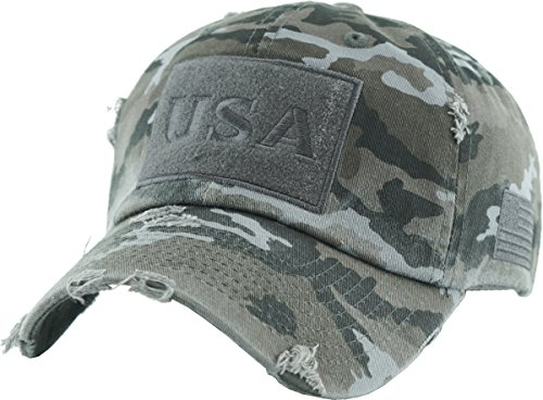 KBVT-210 BLK-CAM Tactical Operator with USA Flag Patch US Army Military Baseball Cap Adjustable