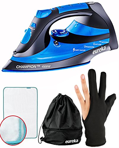 Eureka Champion Super-Hot Blue 1500 Watt Iron Powerful Steam Surge Technology with 8ft Retractable Cord-Pouch Included + Ironing Glove + Ironing Mesh Cloth