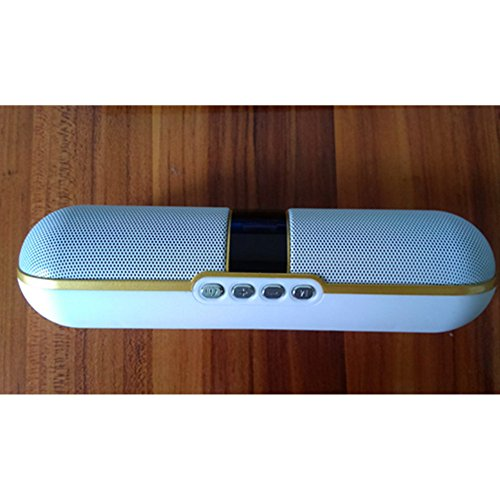 Pill Portable shockproof Wireless Bluetooth Stereo Speaker,Built-in Mic, FM Radio, LED Display, 3.5 mm Audio Jack, support TF card and USB input, great for Iphone PC Samsung Android Tablet and more (White)