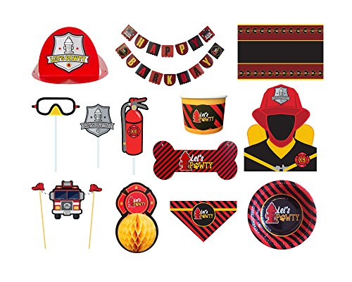 C.R. Gibson Molly & Bandit Firefighter Theme Deluxe Dog Birthday Party Kit for 6 Pets]()