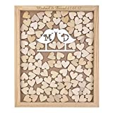 Personalized Engraved Alternative Wedding Guest Book Rustic Wooden Love Bird Style Drop Top Frame Box With Love 40x50 cm with 150pcs Small Wood Hearts