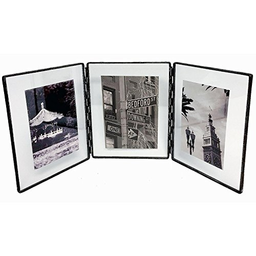 (Clear Glass Float Frame 4x5/3x4 Hinged Triple Black by Bedford Downing -)
