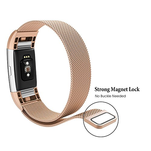 Fitbit Charge 2 Bands Small Large for Women Men, Milanese Loop Stainless Steel Metal Sport Bracelet Strap with Unique Magnet Lock Replacement Wristbands for Fitbit Charge 2 Fitness Tracker More Colors