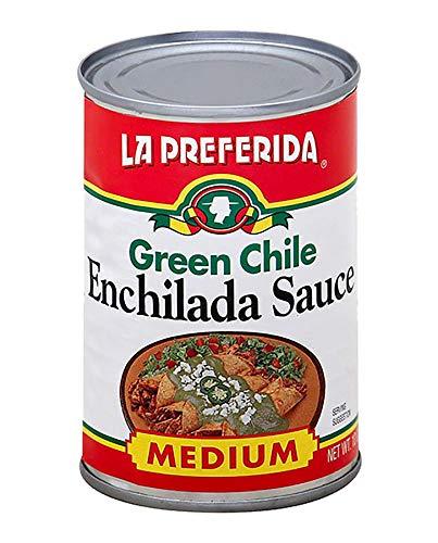 La Preferida Mexican Foods Green Chile Enchilada Sauce, Medium | Salsa de Chile Verde para Enchiladas | 10 OZ (Pack of 12) (Canned Enchilada Sauce)