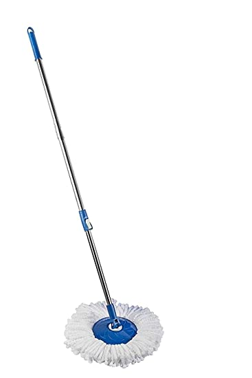 UNIQOUTLET Stainless Steel and Plastic 360 Degree Spin Rod Rotating Pole Cleaning Mop (Multicolour)
