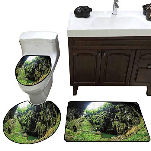 3 Piece Toilet Cover Set Natural Cave Decorations Punkevni Cave in Czech Republic European Geological Formation Myst Hole Landscape Customized Rug Set Green -