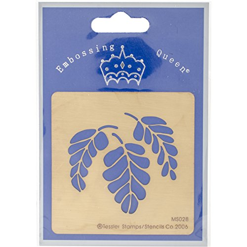 Embossing Queen EQMS028 Leaf No.3 Brass Stencil, 3
