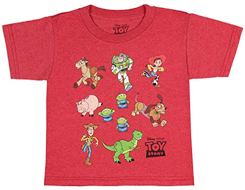 Disney Pixar Toddler Toy Story Shirt Character Toy Lot Graphic T-Shirt (5T) Red Heather
