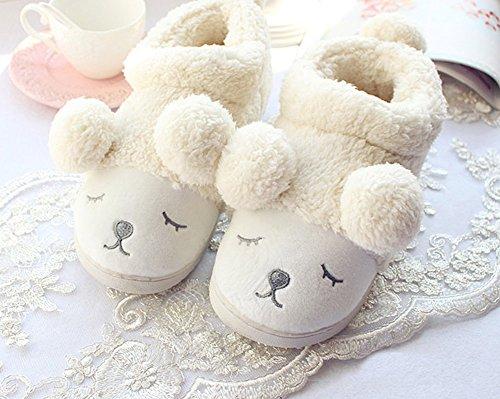 Slipper Weiß Wärme Plüsch Indoor Baumwolle Karikatur Sole Soft Pantoffeln Hausschuhe Nette Rabbit Unisex Winter Minetom 6APaxx