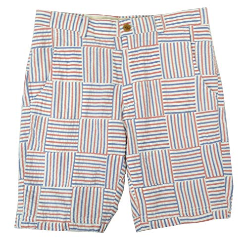 (Brooks Brothers Mens Seersucker Cotton Madras Patchwork Shorts White Multi (33W) )
