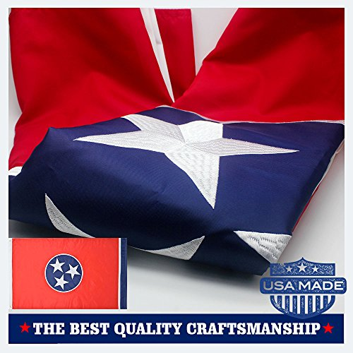 VSVO Tennessee State Flag 3x5 Ft 210D Nylon Premium Outdoor Embroidered Flag, Made in USA Long Lasting Nylon, Sewn Stripes and Brass Grommets, UV Protected, Best 3 by 5 USA - Uv Online