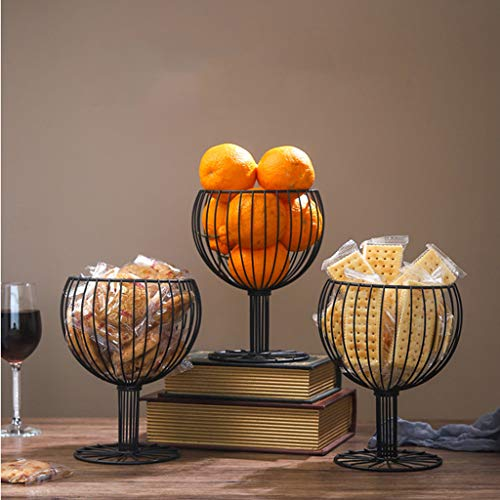 (Gotian Wine Glass Wrought Iron Snack Storage Basket Snack Tray Dessert Fruit Basket - European minimalist style - Wine Glass Shape Multi-Functional Storage Fruit Basket (17.5x17.5x23cm))