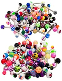 100 Mix Pack 50Pc 14G Belly Button Rings and 50Pc 14G Tongue Ring Barbells Kit