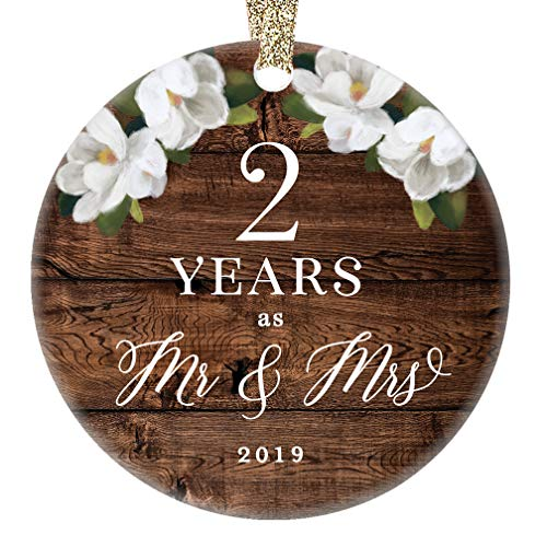 2019 Christmas Ornament 2nd Second Wedding Anniversary Keepsake Present Two Years Wed Husband Wife Married Couple Country Rustic Ceramic Collectible 3 Flat Porcelain with Gold Ribbon & Free Gift Box