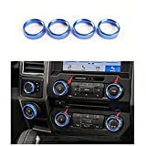 Bestmotoring Aluminum Car Air Conditioning Audi Switch Button Bezel Cover Trims for Ford F150 F 150 2016 Blue 4pcs